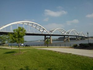 Centennial Bridge In Davenport Iowa